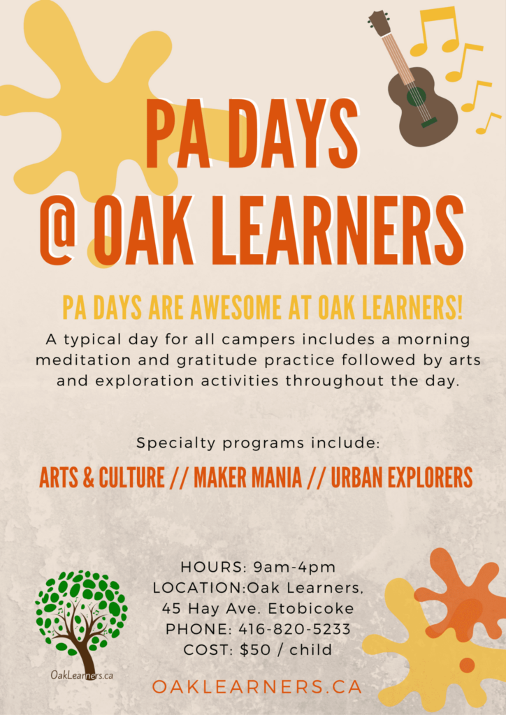 pa day camp flyer, oak learners, etobicoke, mimico
