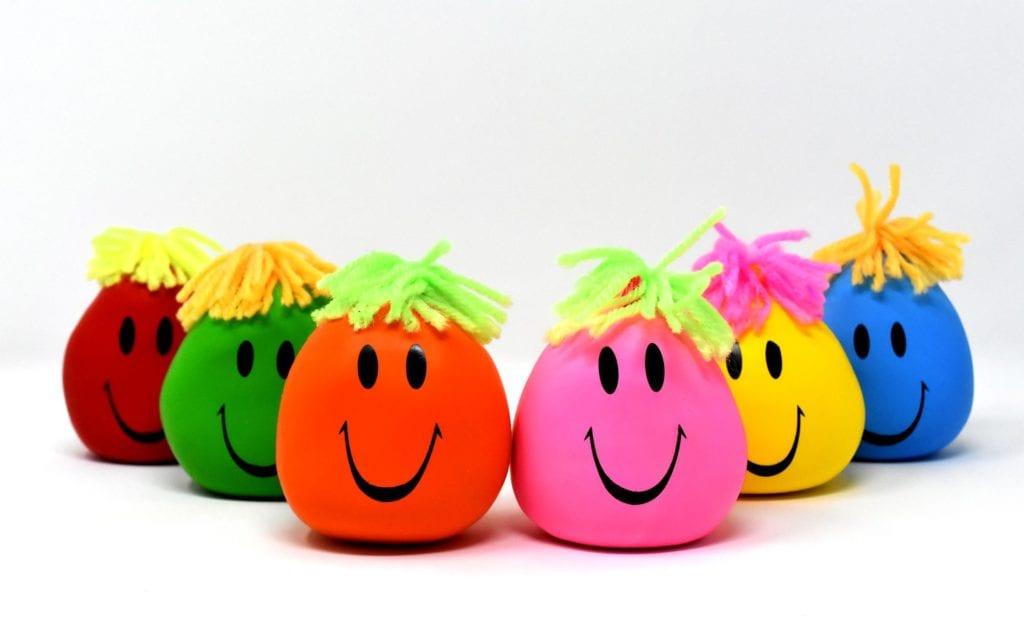 six colourful stress balls