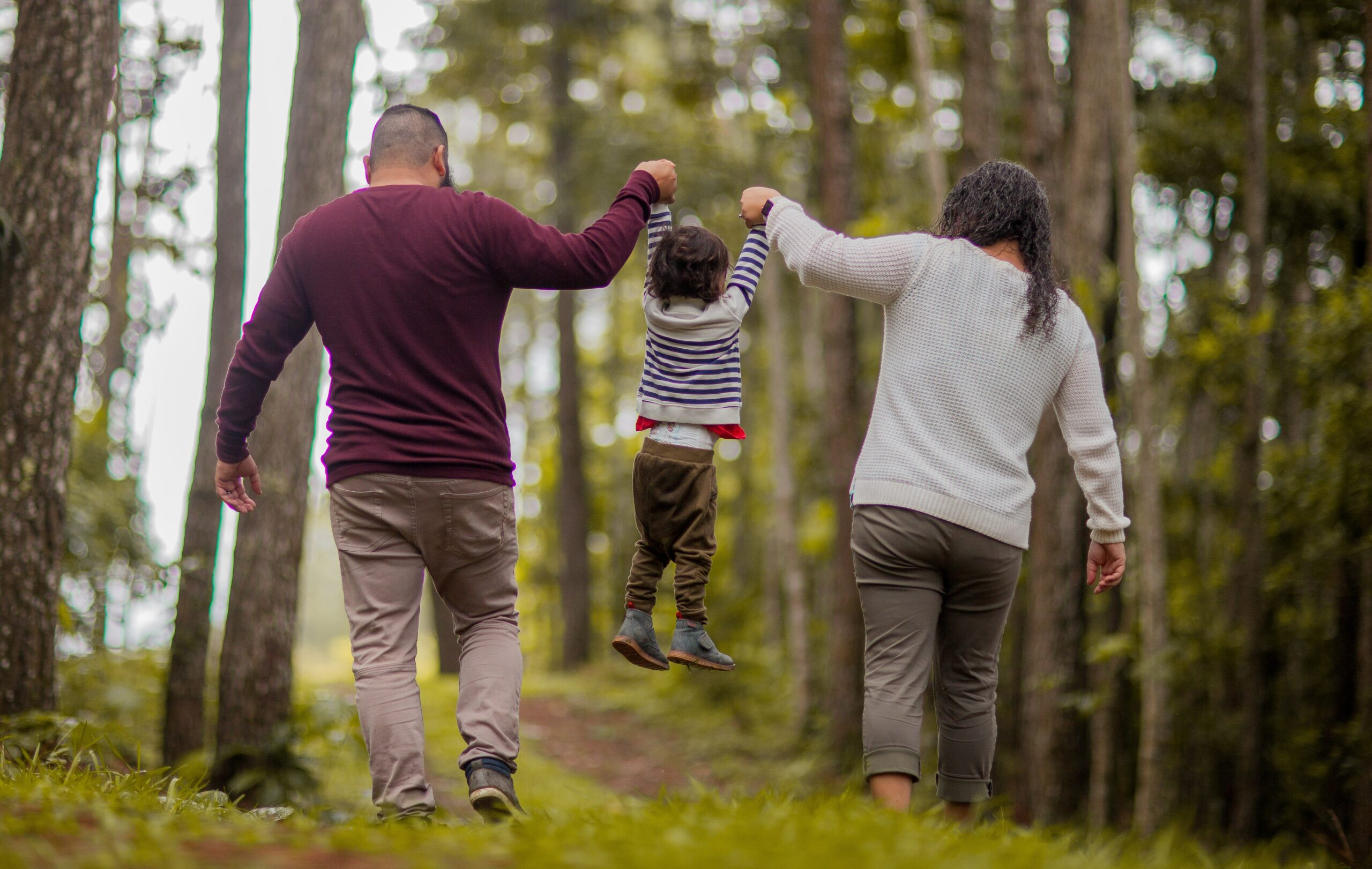two adults and a young child walking in a forest while holding hands