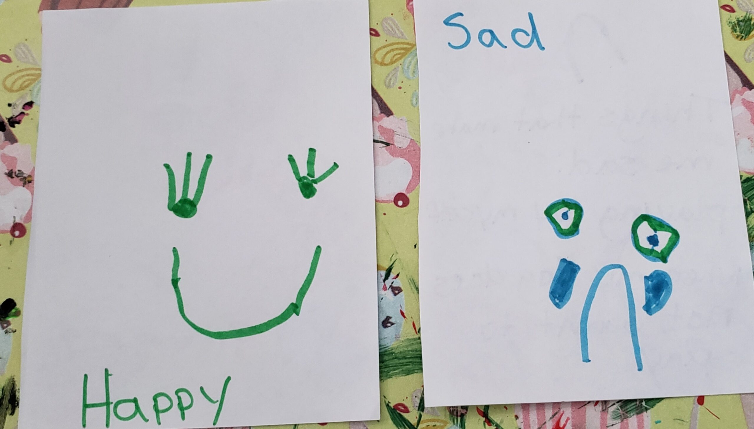 homemade happy sad cards front