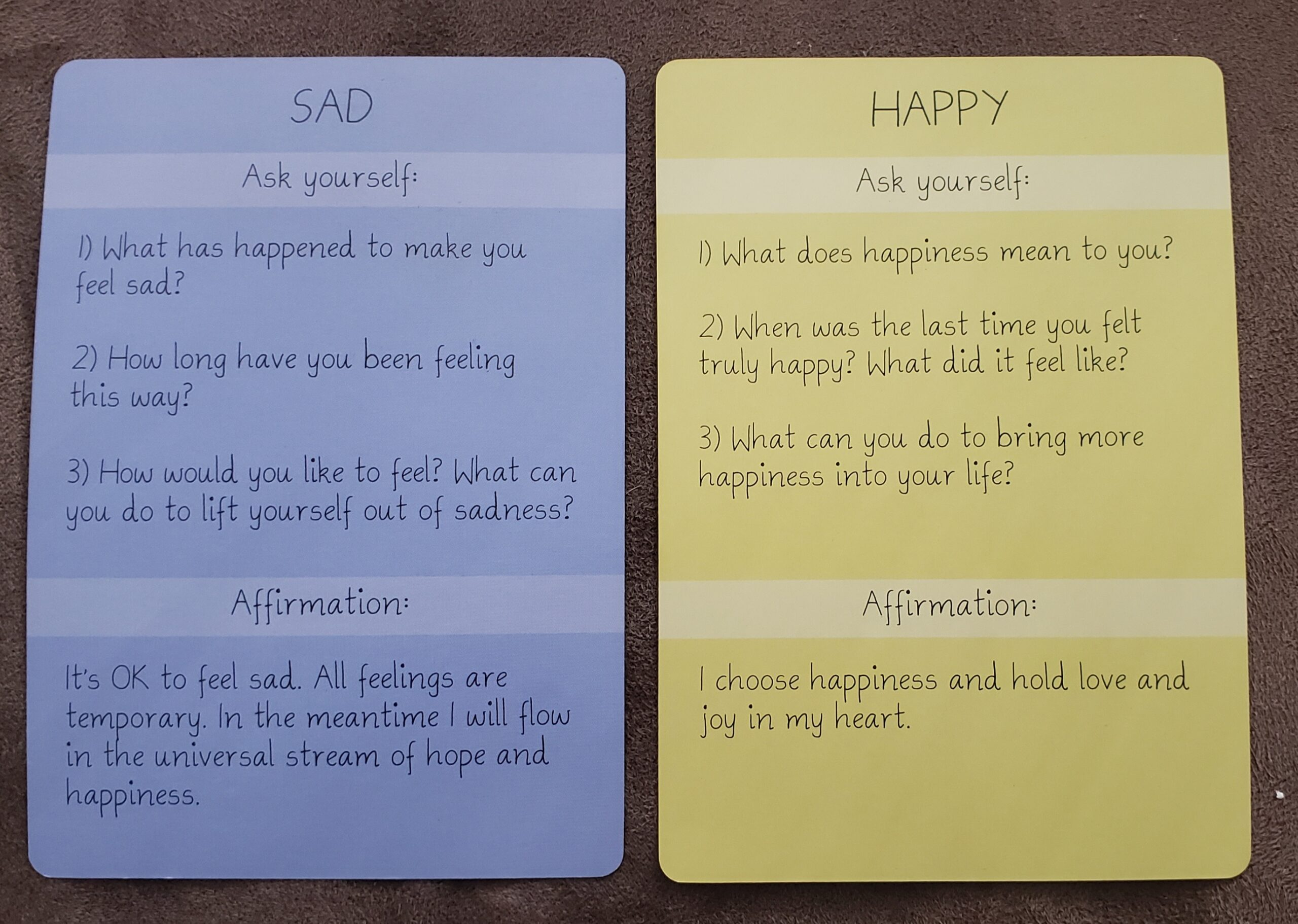 sad and happy cards back